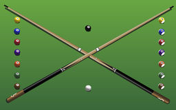 Pool equipment. Vector illustration of pool cues and balls Royalty Free Stock Photography