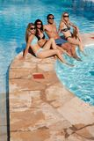 Pool Friends Relax stock photo