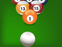 Pool game. Balls against a green felt table Stock Images