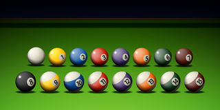 Pool Game. Billiard balls on the table Stock Photography