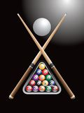 Pool game. Crossed sticks and a set of billiard balls Royalty Free Stock Images