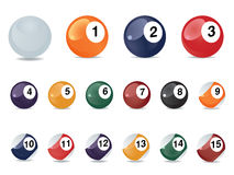 Pool game balls. Against a green felt table Stock Photography