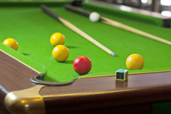 Pool game on green table Royalty Free Stock Image