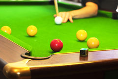Pool game on green table Stock Photography
