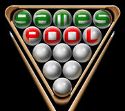 Pool games. Illustration with triangle, pool balls, written pool games and two pool cues Royalty Free Stock Image