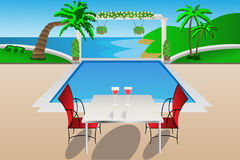Pool garden luxury. Luxury garden with pool and table Vector Illustration