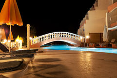 Pool of Greek hotel at night Royalty Free Stock Photography
