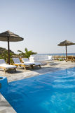 Pool at greek island resort Stock Photo