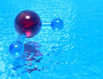 Pool of H2O - red. Pool of H2O - high quality render of a molecular model of H2O reflected in a pool of clean, transparent water