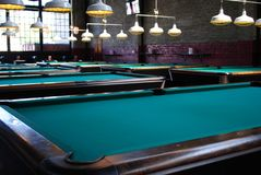 Pool Hall. Tables in a pool hall Royalty Free Stock Photo