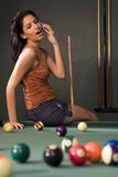 Pool Hall Phone Call Stock Image