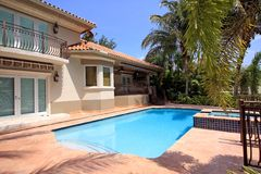 Pool Home. Backyard view of a large luxury Home with a jacuzzi Royalty Free Stock Image