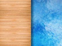 Pool hoogste mening met houten vloer royalty-vrije stock afbeelding