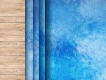 Pool hoogste mening met houten vloer en ladder royalty-vrije stock fotografie