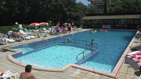The pool at the hotel in Bulgaria. 4K. stock footage