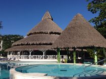 Pool in a Hotel, Don Juan. By the pool, Don Juan, Dominican Republic Royalty Free Stock Images