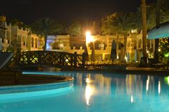 Pool at hotel in evening Stock Photography