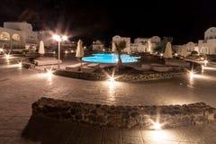 Pool Hotel Santorini Greece Stock Photo