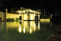 Pool house. Architectural pool house by night Royalty Free Stock Photo