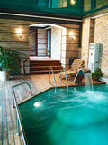 Pool house for swimming. An expensive house Royalty Free Stock Photography