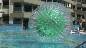 Pool Human Hamster Ball Playing - Closeup Follow Movement stock footage
