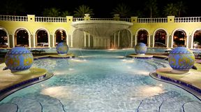 Pool II. Hotel Pool illuminated at Night from an wider angle Royalty Free Stock Photography
