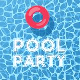 Pool and inflatable ring, view from above. vector illustration