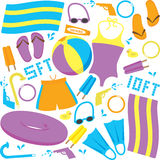 Pool Items. Vector drawing of items found at a swimming pool Stock Images