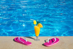 Pool, juice, cocktail. Summer vacation at beach. Stock Photography