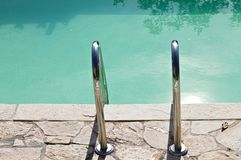 Pool ladder, view from above stock image