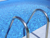 Pool ladders. Stainless steel swimming pool ladder Stock Photo