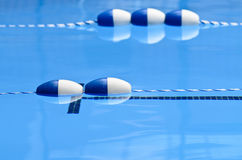 Pool lane floats2. Lane floats in a swimming pool, focus on buoys, calm water in foreground and background Stock Images