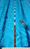 Pool lane vertical. Man swimming in a pool lane seen from above Royalty Free Stock Photos