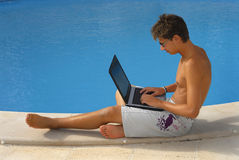 Pool laptop Royalty Free Stock Image