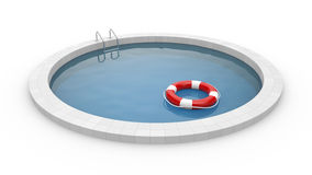 Pool with lifebuoy vector illustration