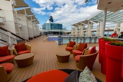 Pool Lounge, Deck, and Pool On Celebrity Cruise stock photos