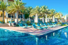 Pool mit blauem Wasser und sunbeds Stockfoto