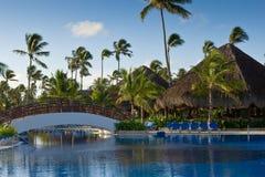 Pool mit weißer Brücke und Palmen Stockbilder