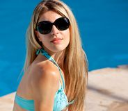 Pool Model with Sunglasses Stock Photos