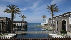 The pool at modern luxury hotel. Crete, Greece stock video