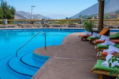 The pool between mountains stock photo