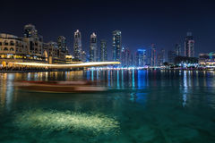 Pool near Burj Khalifa in Dubai Royalty Free Stock Photography