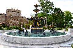 Pool near the castle. Beautiful pool near the castle Old sity Baku Royalty Free Stock Photos