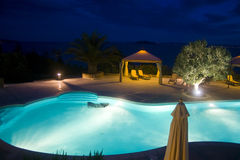 Pool at night. Swimming pool at night in Greece Royalty Free Stock Photos