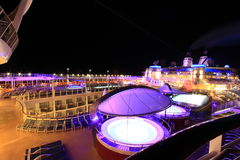 Pool at Night. On a cruise ship Royalty Free Stock Images