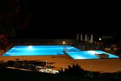 Pool at night. Illuminated pool view at night Stock Photo
