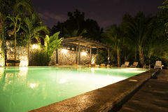 Pool in the night. Night picture of a lighten swimming pool Royalty Free Stock Photography