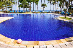 Pool, ocean, palm trees . Indonesia. Bali. Stock Image