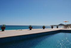 Pool with ocean view. Mexico royalty free stock photography