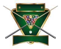 Pool-oder Billiard-Emblem-Auslegung Lizenzfreies Stockfoto